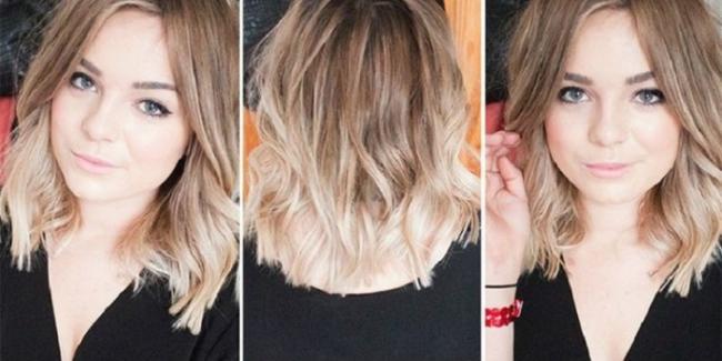 Окрашивание в стиле омбре на русых волосах