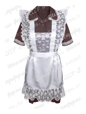Комплект школьное платье с белым атласным фартуком №15